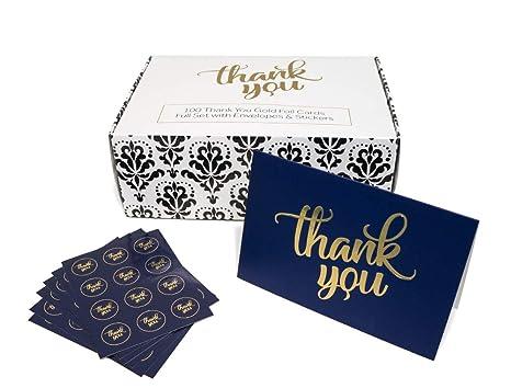 Amazon.com: 100 tarjetas de agradecimiento a granel con ...