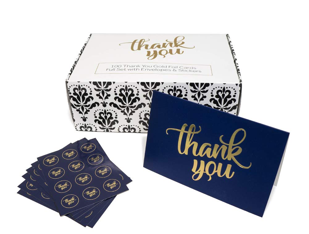 100 Thank You Cards Bulk w/Gold Foil Stickers & White Envelopes - 4x6 Blank Note Cards - Perfect for Weddings, Bridal Showers, Graduation, and Baby Showers