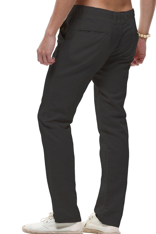 sandbank Men's Drawstring Casual Beach Pants Straight Leg Linen Summer Pants (Black, US 33) by sandbank (Image #2)