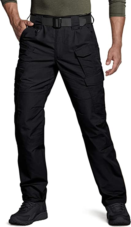 FREE SOLDIER Mens Waterproof Tactical Cargo Pants Lightweight Ripstop Hiking Work Pants with Pockets Khaki,32W//32L