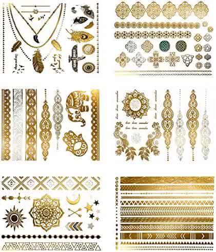 Premium Metallic Tattoos - 75+ Shimmer Designs in Gold, Silver, Black - Temporary Fake Jewelry Tattoos (Serenity Collection)