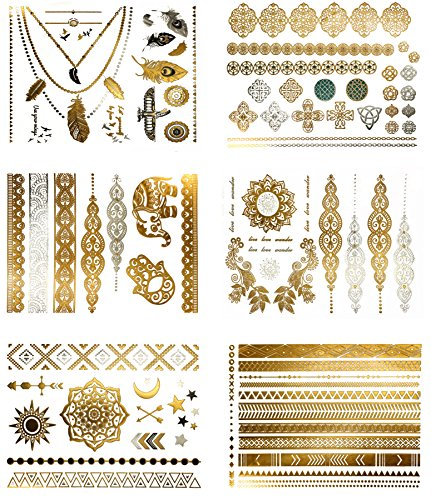 Metallic Boho Gypsy Temporary Tattoos - Over 75 Fake Tattoos in Gold and Silver (6 Sheets) Terra Tattoos ()