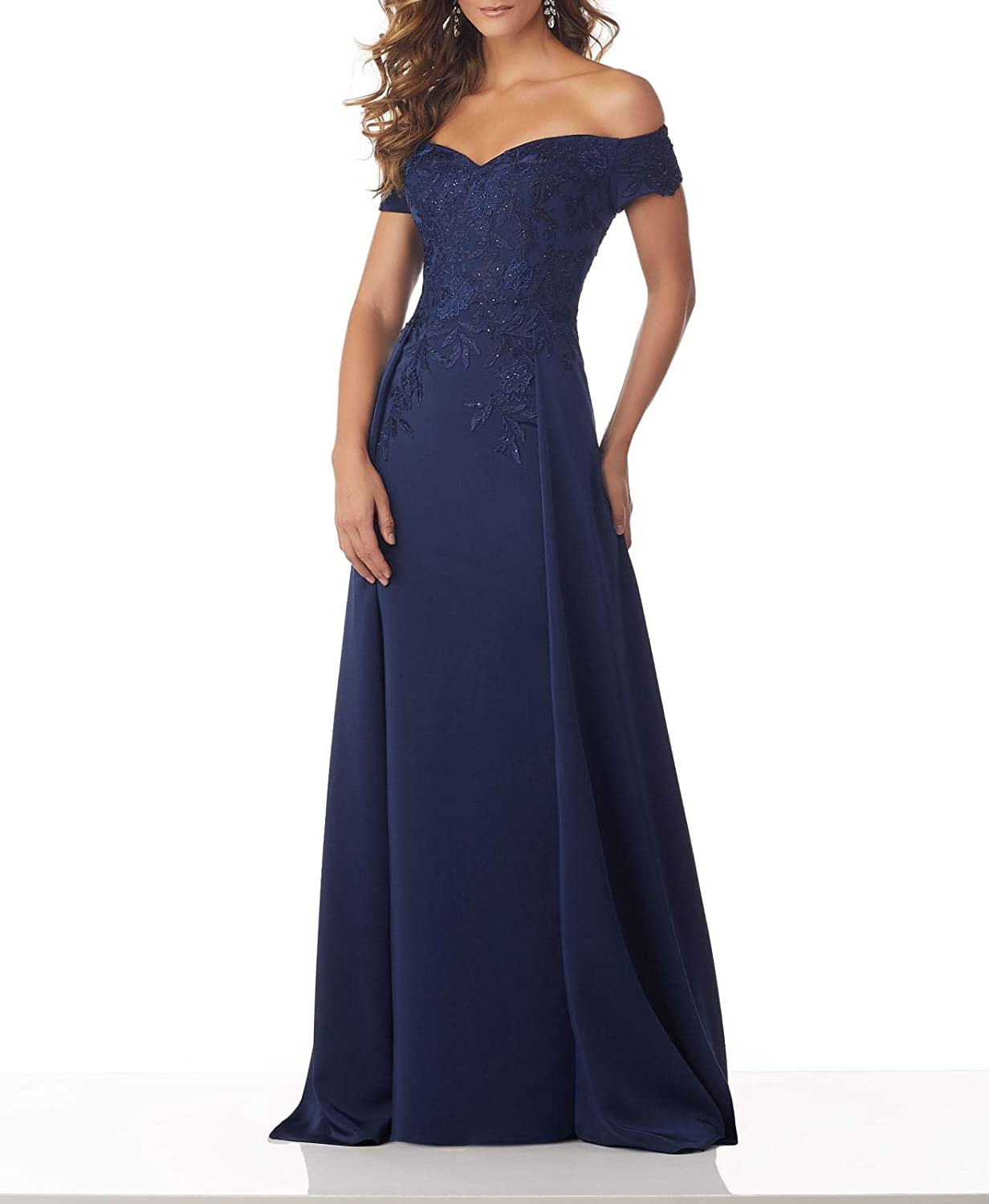 Steelbluee Wanshaqin Women's Off The Shoulder Sweetheart Evening Gown Formal Wedding Party Dress for Brides with Cloak Back Tail