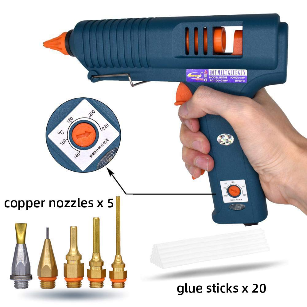 Full Size Glue Gun, 150W High Power with 5 Copper Nozzles Temperature Controllable Repair Craft Tool Professional Melting Hot Glue Gun DIY Thermo Tool Include 20Pcs Highly Viscous Glue Sticks