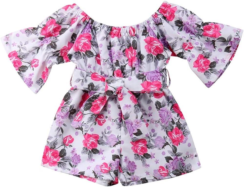 Niños pequeños niñas Floral Romper Destello Manga Bodysuit monotraje Trajes recién Nacidos Playsuit Ropa Rosa 0-4 años