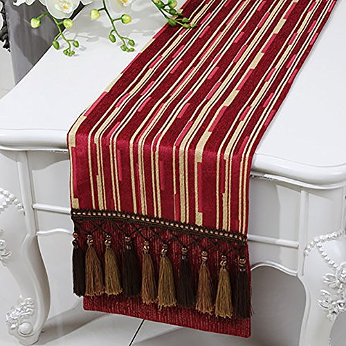 Table Runner Classic Stripe Cotton and Linen Bed Runner Tea Table Cloth Hessian Table Placemat for Kitchen Entrance Shoes Rack (Color : Red, Size : 33300cm)