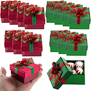 For-Keeps!! (8 Pack Mini Gift Boxes Lids, Bows Small Holiday Bulk Lot