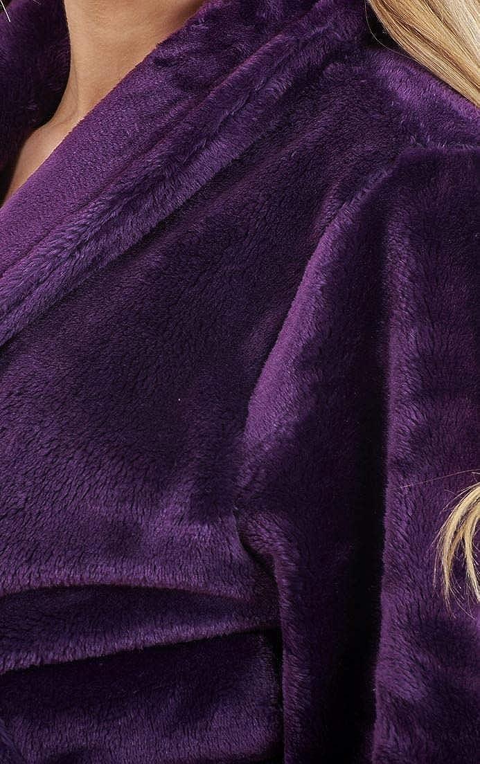 Bata de Invierno Cruzada para Mujer - Forro Polar Muy cálido - Morado - EU 36/38: Amazon.es: Ropa y accesorios