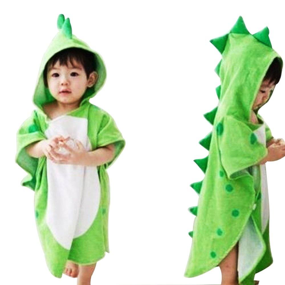 Missley Cotton Infant Children Dinosaur Bathrobes Hooded Breathable Polygonal Cartoon Animals Hooded Cape Towel Beach Towel (Green)
