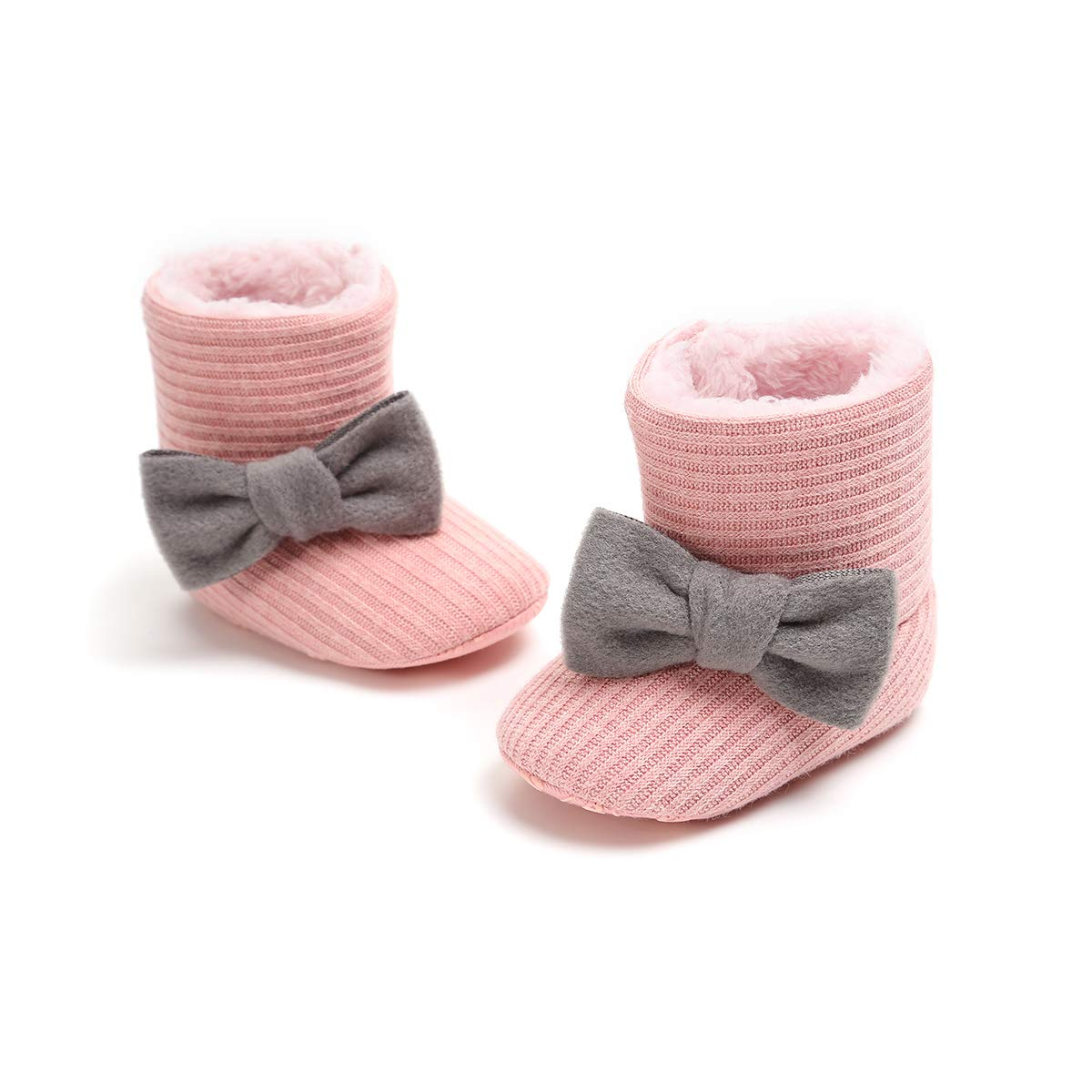 One Persent Newborn Baby Boys Girls Bowknot Snow Boot Winter Warm Soft Prewalker Crib Shoes