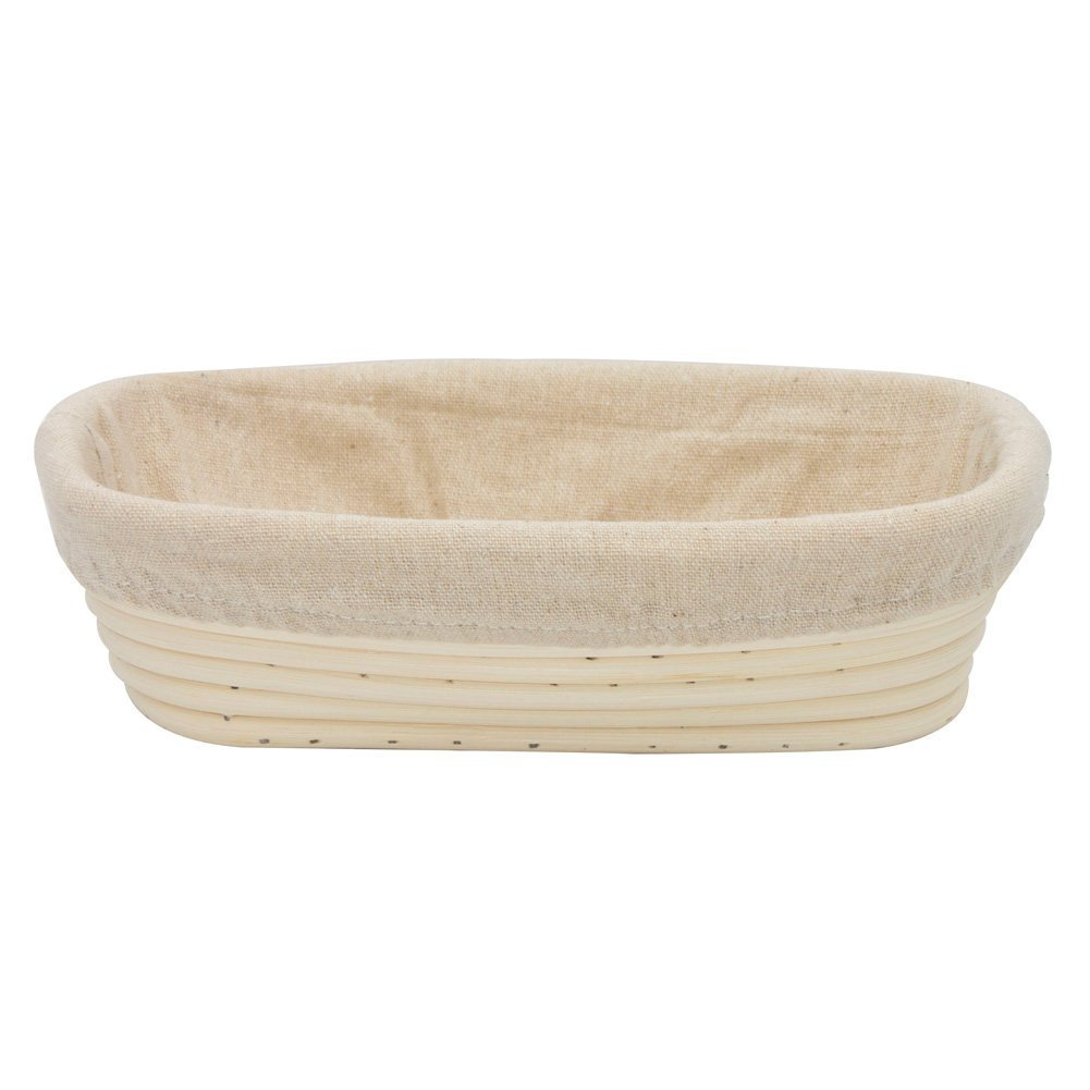 BetterJonny - Round Oval Long Various Size Artisan Brotform Bannetons Bread Dough Proofing Rattan Basket & Liner Combo (#14 Rectangle 9'' (23x13x6cm))