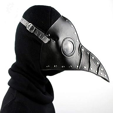 Kissybride Gothic Black Plague Doctor Bird Mask Vintage Long Nose Beak Steampunk Props for Halloween Costume Cosplay