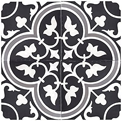 "Rustico Tile and Stone RTS12 Roseton a Cement Tile Pack of 13, 8"" x 8, Black/Gray/White"