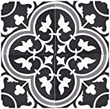 Rustico Tile and Stone RTS12 Roseton a Cement Tile Pack of 13, 8'' x 8, Black/Gray/White