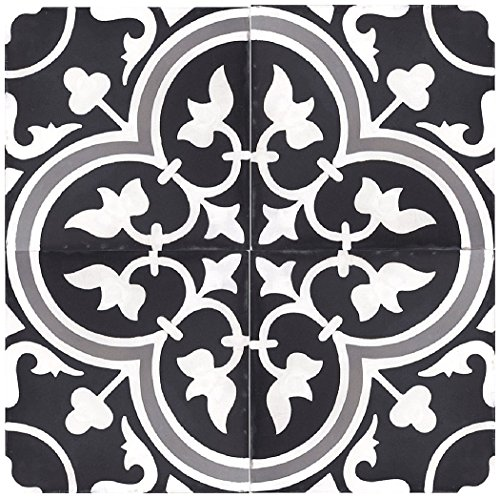 Rustico Tile and Stone RTS12 Roseton a Cement Tile Pack of 13, 8'' x 8, Black/Gray/White by Rustico Tile and Stone