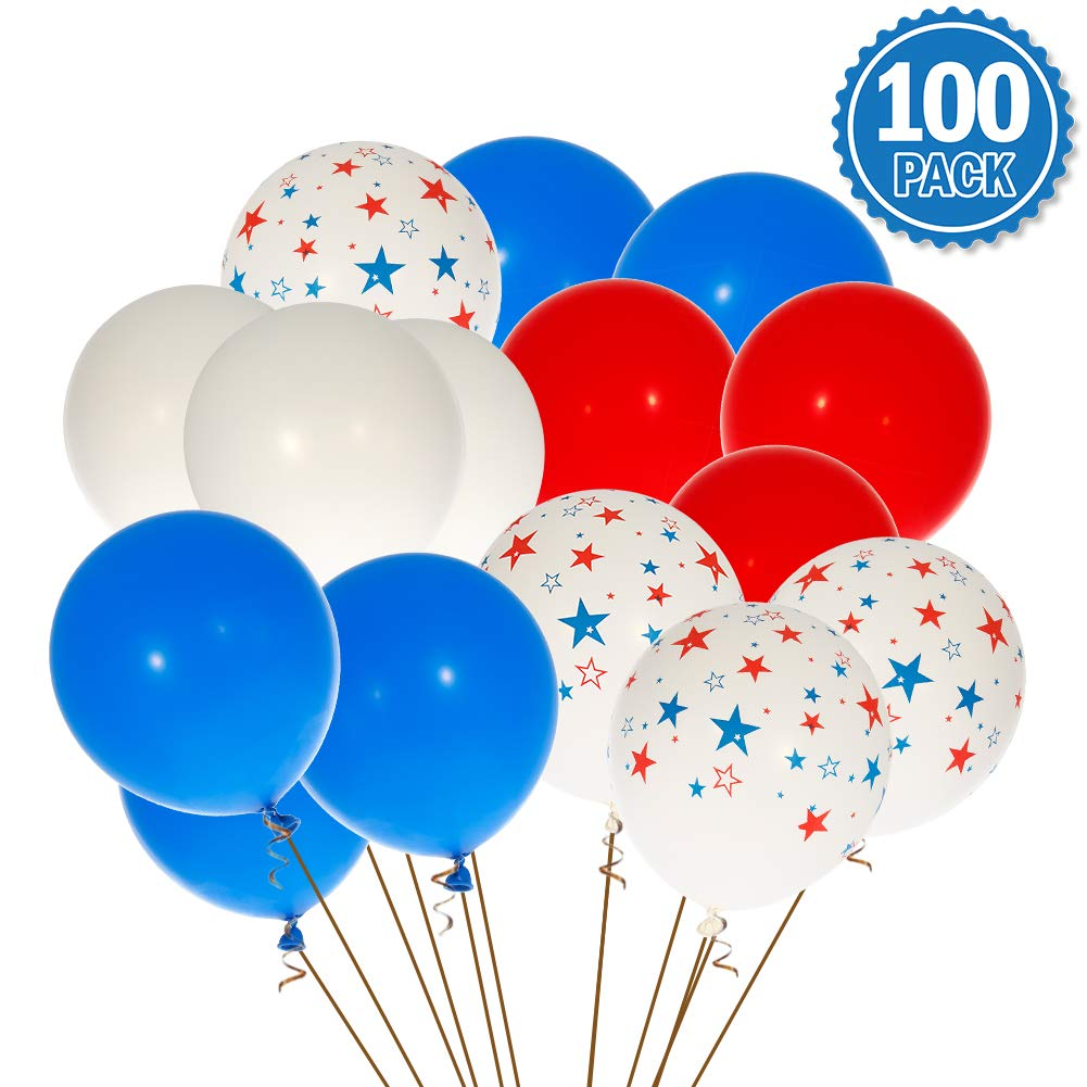 ThinkMax Veterans Day Balloons, 12 Inch Star Printing Latex Balloon Set, Patriotic Party Supplies for Independence Day, Veterans Day, Presidents Day and Birthday Party