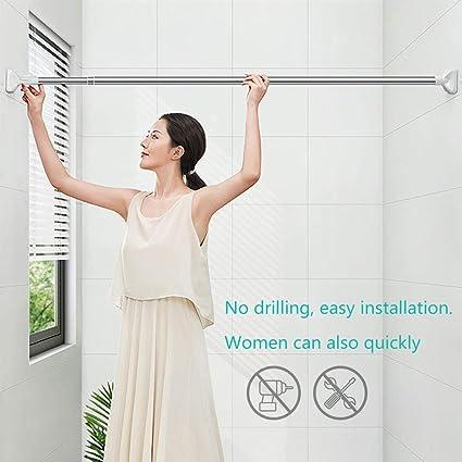 bagno in acciaio inossidabile 48-80cm da usare per armadi come supporto per tendine e tende regolabile doccia estensibile da 48 cm a 160 cm. Asta teloscopica allungabile