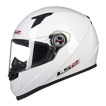 HOEMKUY Casco Moto Moto integrale Moto uomini Scooter Casque Moto Solid White L