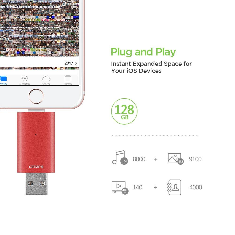 Omars Memoria USB 3.0 Certificado por Apple MFI Irisation 32 GB Pendrive para iPhone iPad MacBook Computadoras Laptops Flash Drive con Lightning Conector