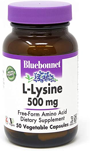 BlueBonnet L-Lysine 500 mg Vitamin Capsules, 50 Count 743715000520