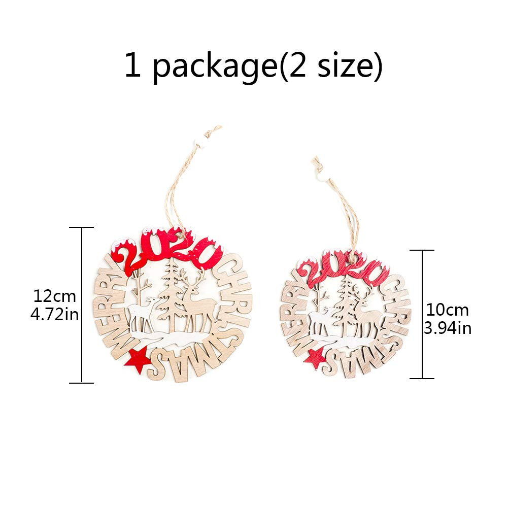 2 Pcs Christmas Tree Wooden Ornaments Hanging Bauble Hollow DIY Wood Chip Pendant with Rope Reindeer Christmas Tree Merry Christmas Crafts Embellishments for Xmas Decoration Wedding Party Decor