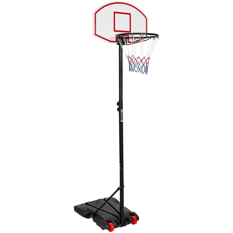 ポータブルスチールバスケットボールフープシステムスタンド高さ調節可能W /ホイールベース B079ZB7J4R