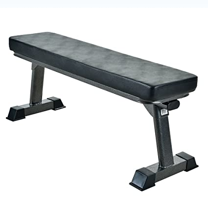 Finer Form Gym Quality Foldable Flat Bench for Multi-Purpose Weight Training and Ab Exercises
