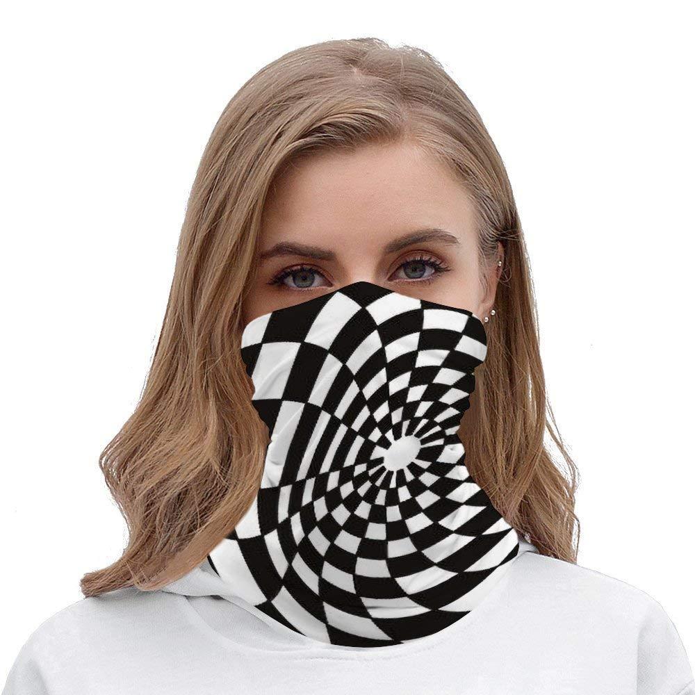 Checker Board Seamless Bandana Face Mask Head Wrap Scarf Headband Neck Warmer Gaiter Headwear Balaclava for Dust Outdoors Raves Sports Music Black