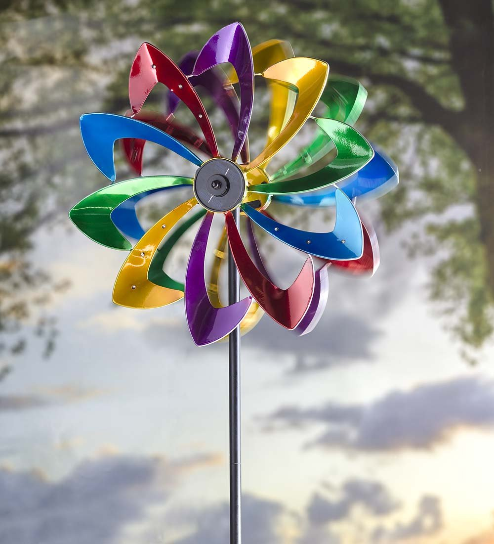 Solar LED Metal Flower Garden Wind Spinner 24.5 dia. x 11.5 D x 75 H Bright Colors by Plow & Hearth
