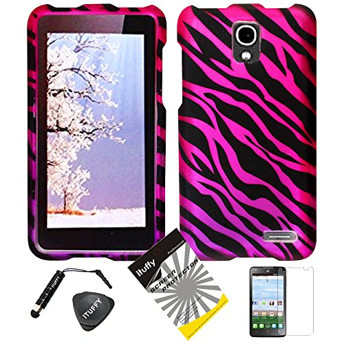 4 Items Combo: ITUFFY (TM) LCD Screen Protector Film + Stylus Pen + Case Opener + Design Rubberized Snap on Case for (2014 TracFone Alcatel OneTouch Pop Star LTE A845L) (Black Pink Zebra) (Alcatel One Touch Pop Zebra Case)