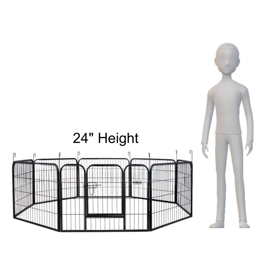 PetDanze Dog Pen Metal Fence Gate Portable Outdoor   Heavy Duty Outside Pet Large Playpen Exercise RV Play Yard   Indoor Puppy Kennel Cage Crate Enclosures   24'' Height 8 Panel by PetDanze (Image #2)