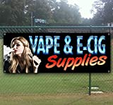 VAPE and E CIG SUPPLIES 13 oz heavy duty vinyl banner sign with metal grommets, new, store, advertising, flag, (many sizes available)