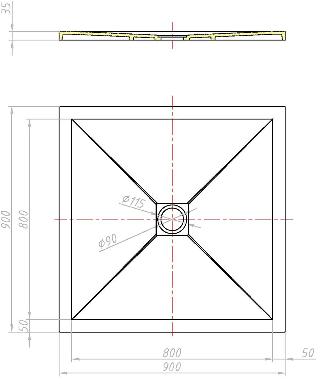 Piatto Doccia 70x90x3,5 CM Rettangolare Antracite Marmoresina Ardesia Effetto Pietra MOD Petra