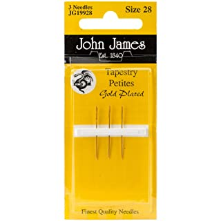 Colonial Needle JG199-28 Gold Tapestry Petites Hand Needles, Size 28, 3-Pack