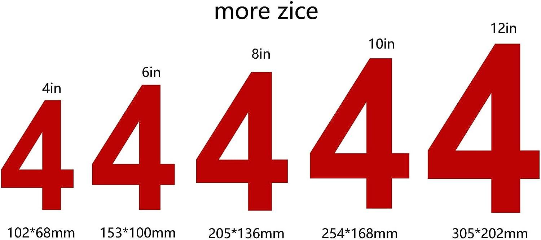 12in N/úmero 4 Apariencia flotante F/ácil de instalar y hecho de acero inoxidable s/ólido nanly N/úmero de casa moderna-ROJO 30.5cm//12-Acero inoxidable