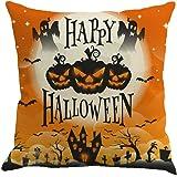 Cuscino di Halloween, Longra Cuscino cuscino cuscino in lino con castello di zucca