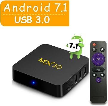 MX10 Android 7.1 TV Box/2,4 G/5 GHz WiFi/4 K TV/Amlogic Octa-Core Velocidad/[4G/32 G] 100/1000 m LAN Soporte Ultra-Rapide Smart TV Box: Amazon.es: Electrónica