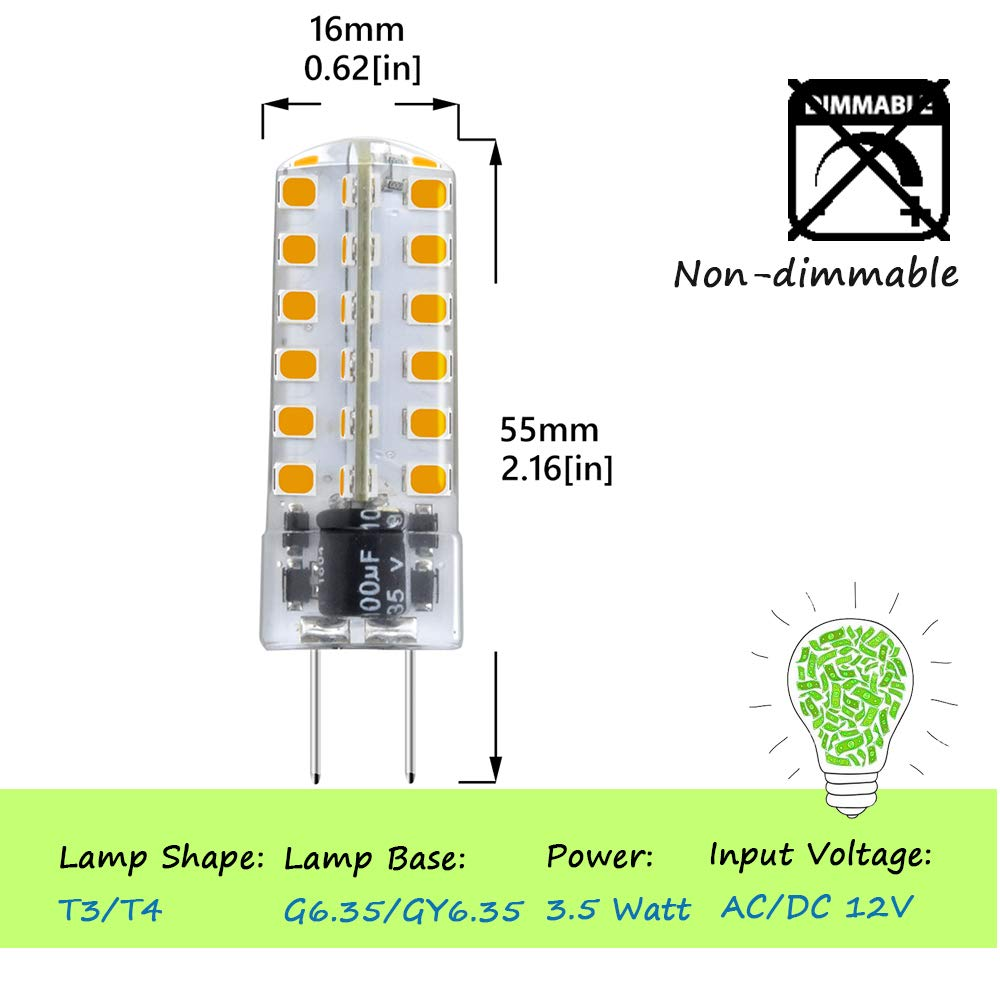 Lusta LED Co Display Warm White Accent Landscape Lighting Ltd Bonlux 5-Pack G6.35 LED Light Bulb 3 Watts 12 Volt G6.35//GY6.35 Bi-Pin JC Type LED 20W Halogen Replacement Bulb for Desk Lamp