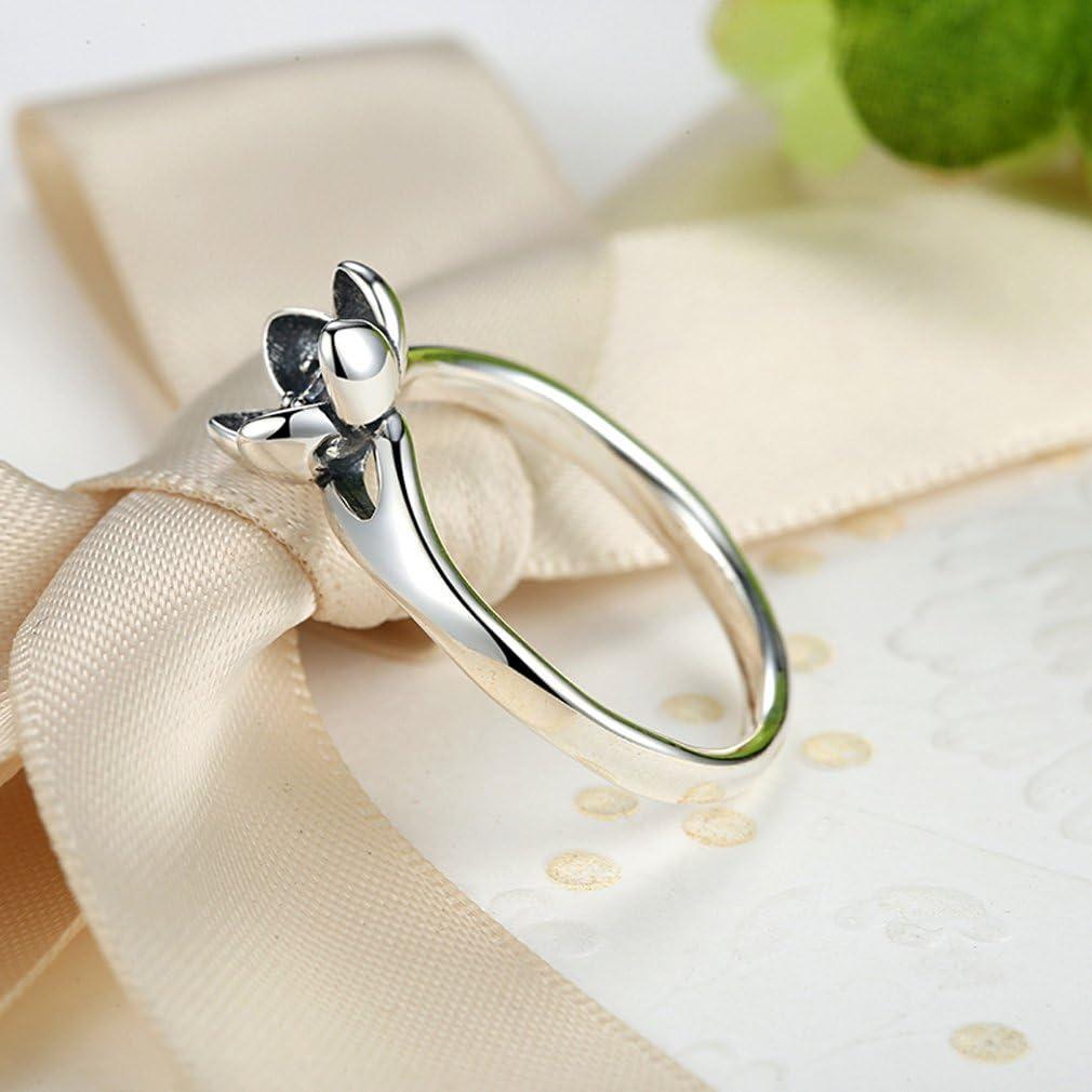 Black Enamel Everbling Secret Flower 925 Sterling Silver Stackable Ring