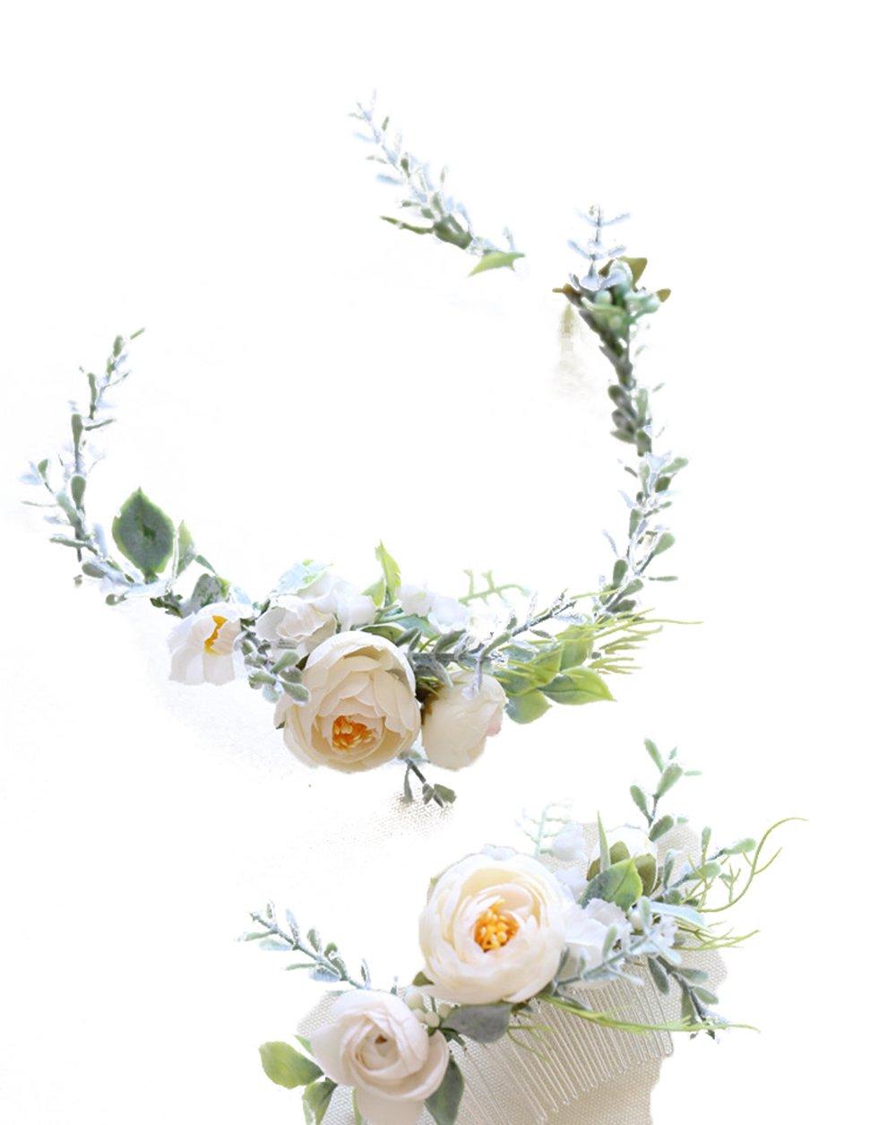 FIDDY898 Floral Crown Green Vine Bridal Accessories Wedding Crown (Set) by FIDDY898