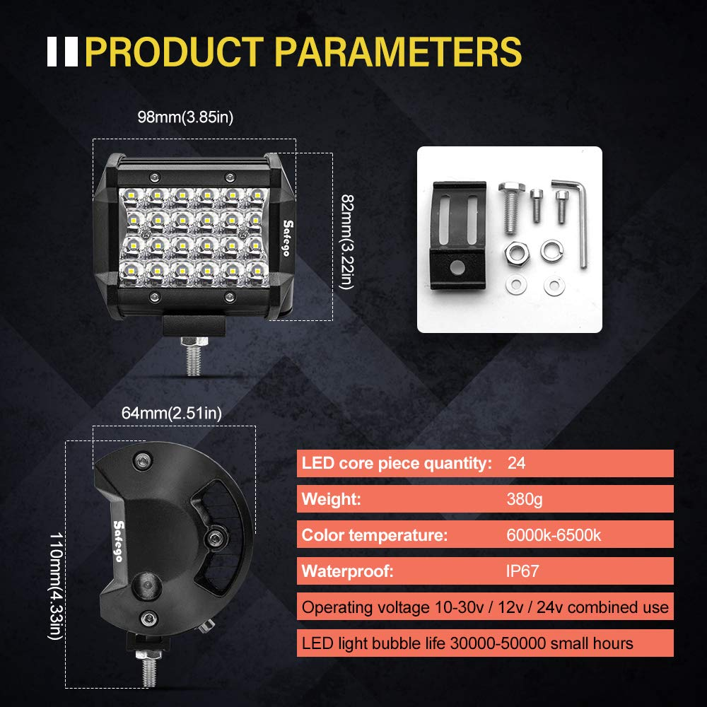 Projecteur LED Lampe de travail Barre 6000LM 1 an de Garantie IP67 Imperm/éable Safego 4 72W Phare LED Travail Feux Antibrouillard pour Voiture Hors Route Tracteur Camion SUV ATV Caravane 12V 24V