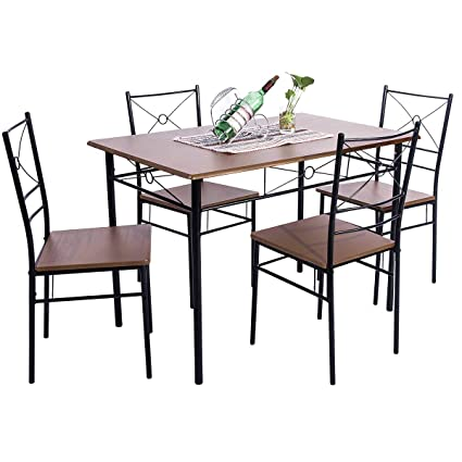 BEIZ & PENZ 5-Piece Dining Table Set Vintage Wood Top Home Kitchen Table  with 4 Chairs Wood and Metal Dining Room Breakfast Modern Furniture (Walnut)
