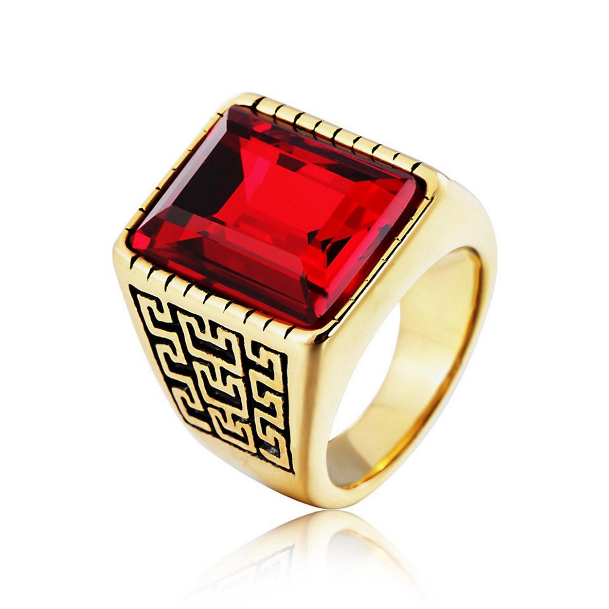 Taizhiwei anello acquamarina titanio acciaio inox tungsteno metallo incisione vintage argento anello uomo MULEI Rizexi-GZ07