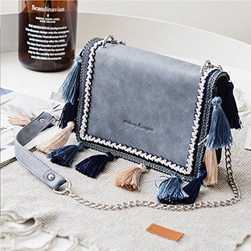 Ethnic Tassel Chain Purse Tote Girl Faux Boutique Blue Women Crossbody Shoulder Handbag Goodbag Leather Bag Fashion 7nTqU886