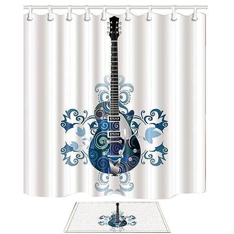 KOTOM Music cortina de ducha y juego de alfombras, guitarra pintada a mano con azul y ...