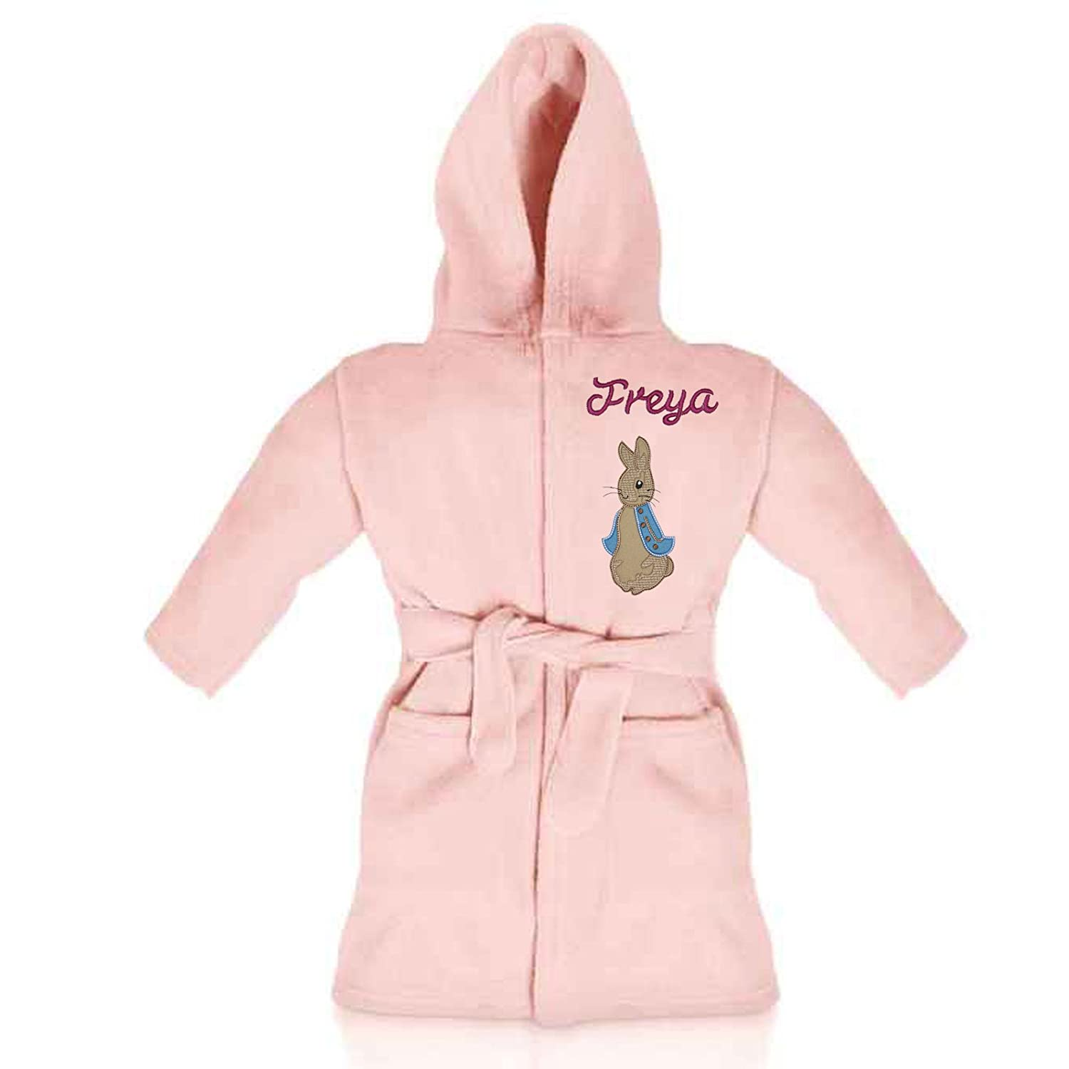 Peter Rabbit Personalised & Applique Super Soft Fleece Dressing Gown/Bathrobe (Baby Pink) Peter Rabbit Pink