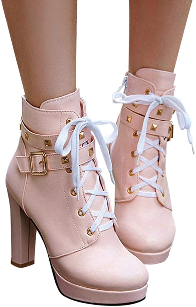 Lace Up Studded Ankle Buckle Strap Wedge Short Booties Round Toe Side Zipper Work Dress Shoes Mosunx Women High Heel Ankle Boots