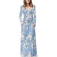 LILBETTER Women Long Sleeve Loose Plain Maxi Dresses Casual Long Dresses Pockets