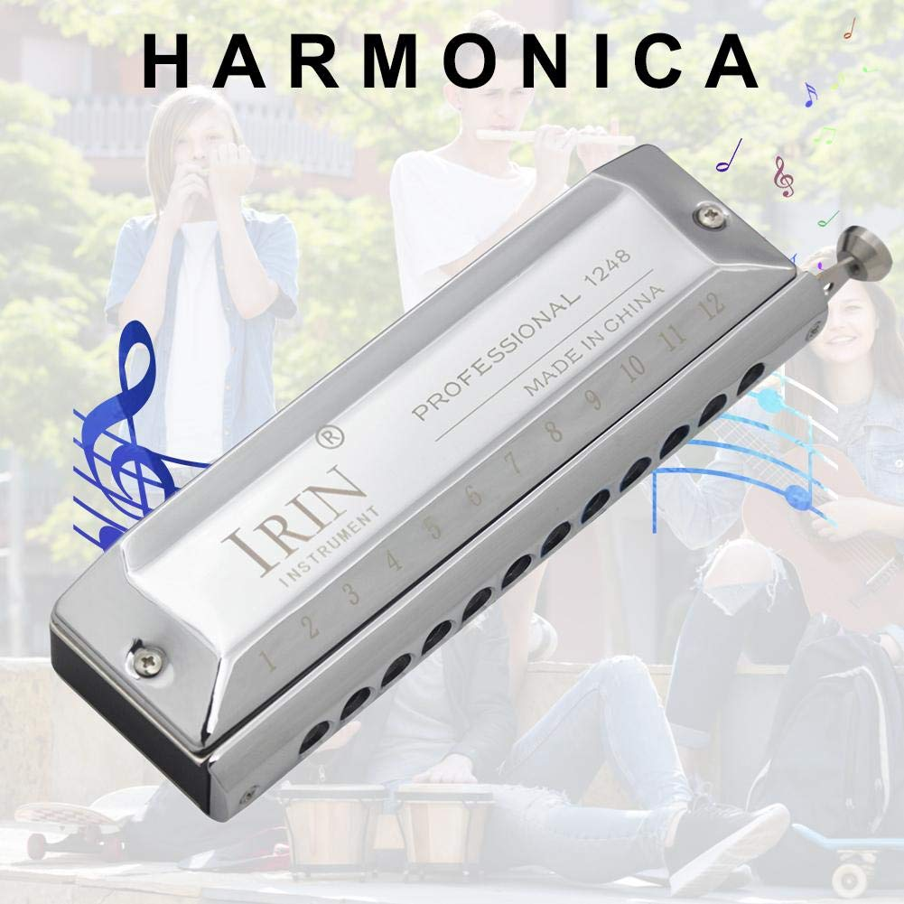 Sanmubo 12-Hole 48-Tone Chromatic Harmonica for Beginner's Play Entry,Stainless Steel Diacritical Key Harp by Sanmubo