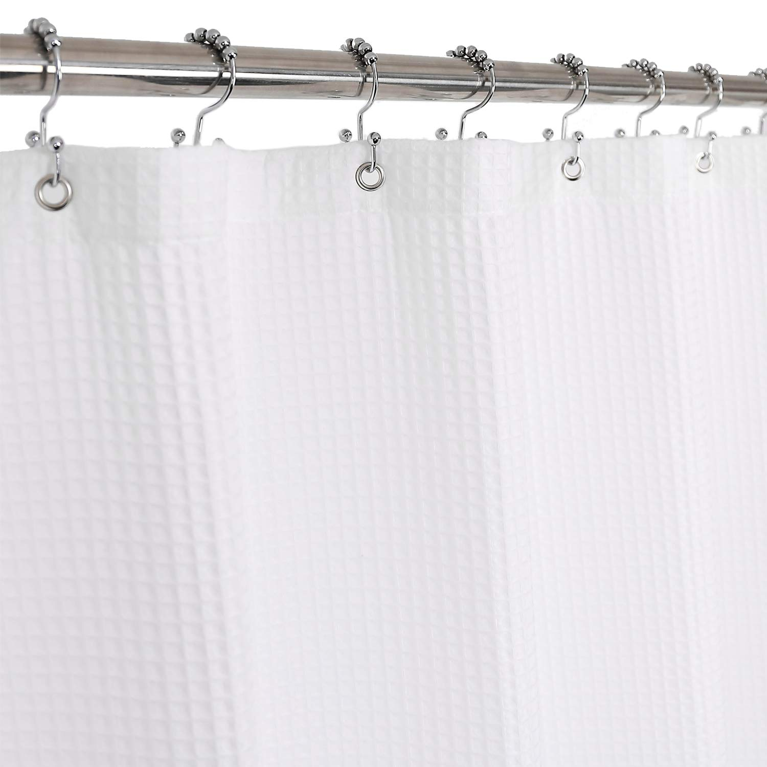 Barossa Design Cotton Shower Curtain Honeycomb Waffle Weave, Hotel Collection, Spa, Washable, White, 72 x 72 inch by Barossa Design